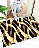 Felpudo de Entrada,Patrón Negro Amarillo 60x90cm,Alfombra de...