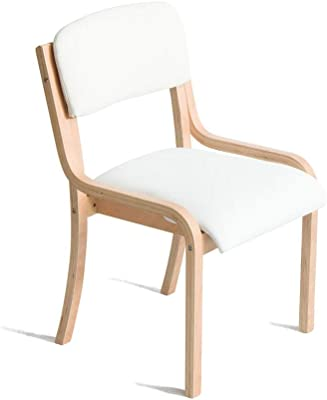 FEI Teng Wooden Armchair with Cushions, White Cushions for Home and Business Brown's Tabletop Dining/Makeup/Learning Chair Kitchen/Dining Chair Size: 53cm x 58cm x 83cm