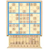 KAILIMENG Wooden Sudoku Board Game with Drawer - 81 Grids Number Place Wood Puzzle for Kids and Adults (Blue Line)