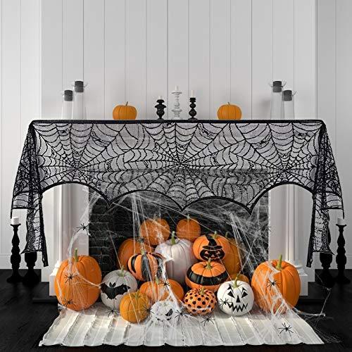 KATOOM 2 Pezzi Decorazione di Halloween Ragnatela,Decorazione di Ragnatela per Caminetto Tovaglia di Pizzo Nero con Ragnatela in Bianco con 30 Pezzi di Ragni Falsi per Finestra della Casa Stregata
