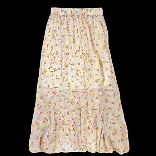 DAJUZI Langer Rüschenrock Hoher Taillen-Gänseblümchen-Print Chiffon-A-Linien-Rock Weiblicher Sommer-Rock mit dünner elastischer Taille OneSize Apricot