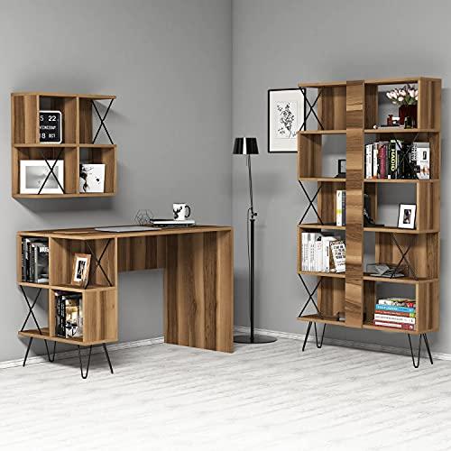 Skyedecom - Escritorio de estudio y biblioteca de madera de nogal Le Noir estaciones de trabajo informáticas Extra 2 – Walnut 845HCT3830