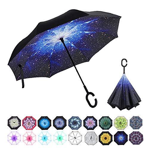 WASING Doppellagiger umgekehrter Regenschirm fürs Auto, winddicht, UV-Schutz, großer gerader Regenschirm für Auto-Regen im Freien mit C-förmigem Griff, SternenhimmelII