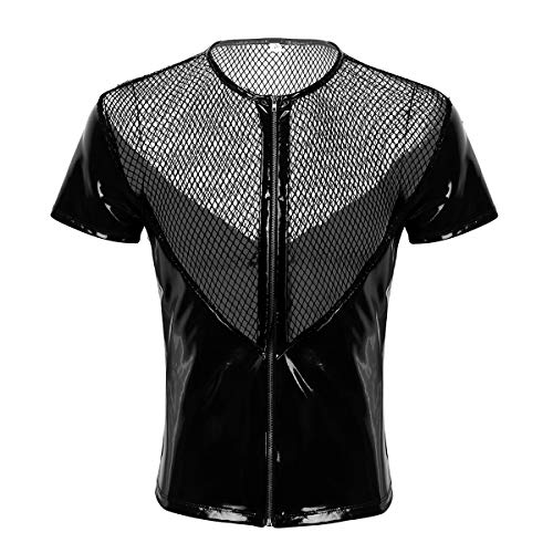 CHICTRY M-XXL Camiseta Manga Corta de Cuero Camisa de Malla Lencera Hombre Sexy Negro Leotardo Blusa de Charol Brillante Cremallera Disfraz Clubwear Negro XX-Large