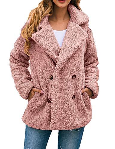 Boni Caro Women's Lined Fashion Teddy Bear Long Sleeve Fluffy Coats Casual Shaggy Fleece Jacket - Fuzzy Outwear Faux Cardigan with Pockets (Pink, 12-14)