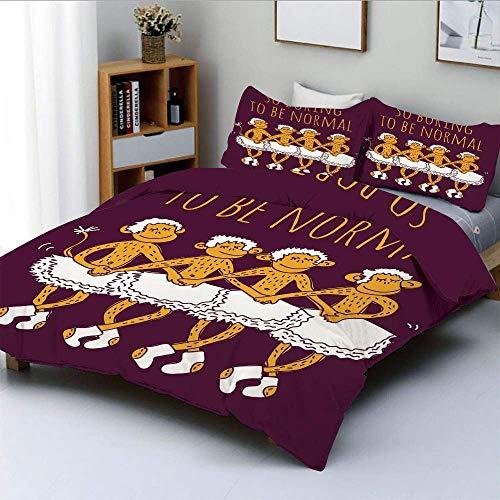 Juego de funda nórdica, divertidos bailarines con monos bailando con una impresión de cita tan aburrida como normal Impresión decorativa Juego de cama de 3 piezas con 2 fundas de almohada, granate Mer