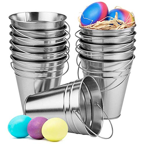 Kicko Large Galvanized Metal Buckets Bulk - 12 Pack - with Handle 5 X 4.5 Inches - Unique Goody Baskets, for Party Favors, Party Accessories and Christmas Decorations
