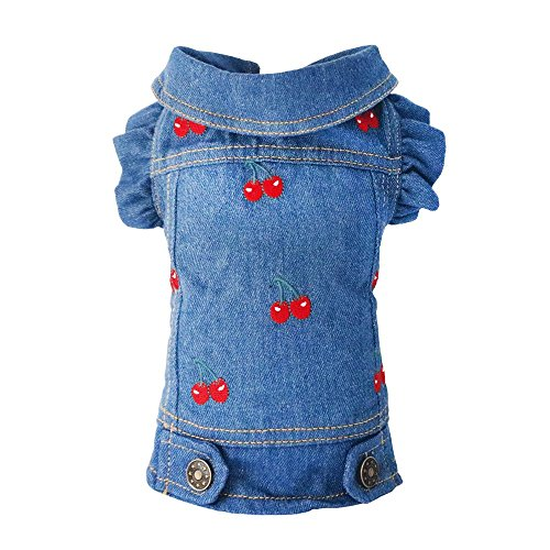 SILD Pet Clothes Dog Jeans Jacket Cool Blue Denim Coat Small Medium Dogs Lapel Vests Classic Puppy Hoodies (XXL, Cherry)