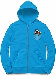 Fox Republic ナマケモノの赤ちゃん ポケット メガネ オーシャンブルー キッズ パーカー シッパー スウェット トレーナー 130cm