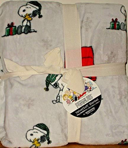 Berk Shire Peanuts Snoopy & Woodstock Weihnachts-Fleecedecke Queen 90 x 90 cm, Grau