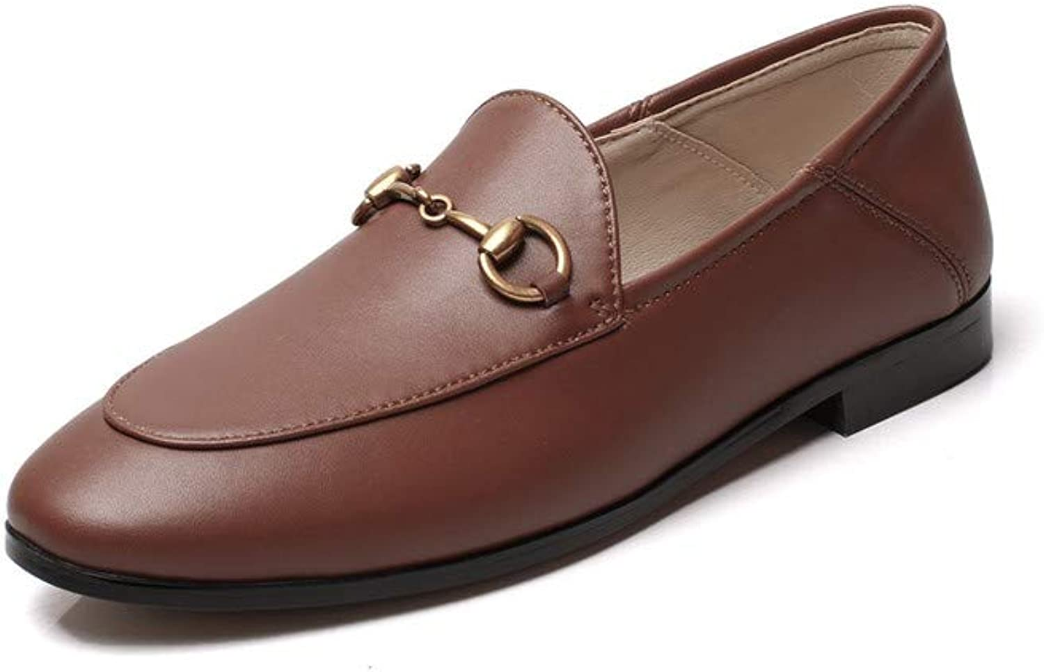 Pophight Womens Leather Oxford Backless Slipper Slip-ons Loafer shoes Brown