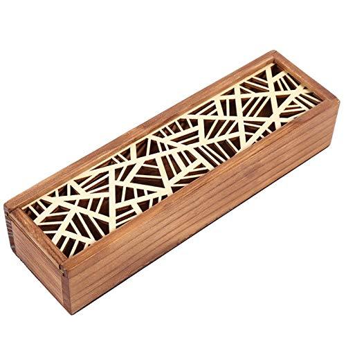 Kuuleyn Piórnik studencki, 4 rodzaje drewniany piórnik biurko przechowywanie artykułów piśmienniczych student szkoła (geometryczny typ łatki)