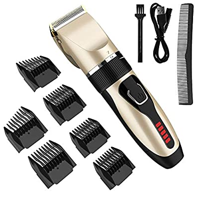 Hair Clippers, DIOZO Professional Hair Trimmer Clipper Set Rechargeable with Ceramic Blade 5 Level Adjustable Electric Haircut Kit with 6 Guide Comb