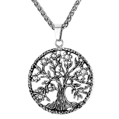 Colar da árvore da vida U7, joias da família da amizade, pingente religioso de árvore sagrada para homens e mulheres, com caixa de presente medium Prata