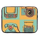 Laptop Case Vector Set of Retro Devices Sketch Style Vintage Colors Camera, Phone, TV, Radio Laptop Bag 15 Inch