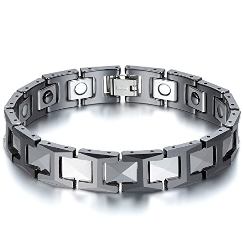 JewelryWe Schmuck Herren Magnet Armband, Wolfram Wolframcarbid Keramik, 12mm Breit H Link Elegant Gesundheit Magnetarmband Armreif, Schwarz Silber