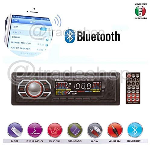 TrAdE Shop Traesio Stereo Auto Bluetooth AUTORADIO Vivavoce Radio FM MP3 USB AUX SD Card 45W X 4