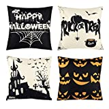 Set of 4 Happy Halloween Skull Throw Pillow Covers Black and White Pillow Case Decorative for Halloween Home Car Sofa Bed Couch, 18 x 18 Inch (Halloween)