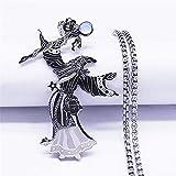 DOOLY Brujería Mago Serpiente Bola de Cristal cetro Piedra Lunar Collar de Cadena de Acero Inoxidable Mujeres/Hombres joyería de Plata Collares