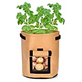 Lindhb Bolsa para Plantas Bolsa De Plantación De Patatas De Color Caqui Jardinera De Macetas Contenedor De Verduras Jardín En Crecimiento Bolsa De Cultivo