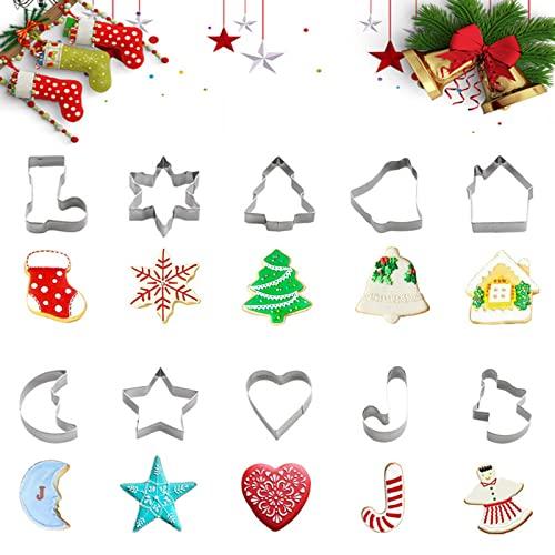 Juego de Cortador de Galletas, 10 Piezas Navidad Cortadores de Galletas, Moldes de Galletas Navideña, Formas de Acero Inoxidable para Navidad, para Hornear Pasteles, Fondant, Muffin (A)