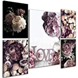 decomonkey Bilder Blumen 110x80 cm 5 Teilig Leinwandbilder