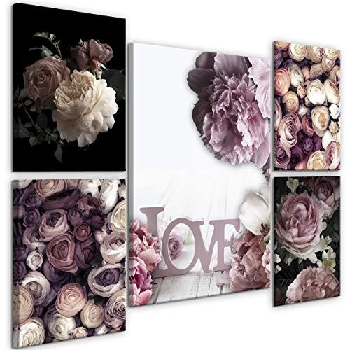 decomonkey Bilder Blumen 110x80 cm 5 Teilig Leinwandbilder Bild auf Leinwand Vlies Wandbild Kunstdruck Wanddeko Wand Wohnzimmer Wanddekoration Deko Rose Natur Love