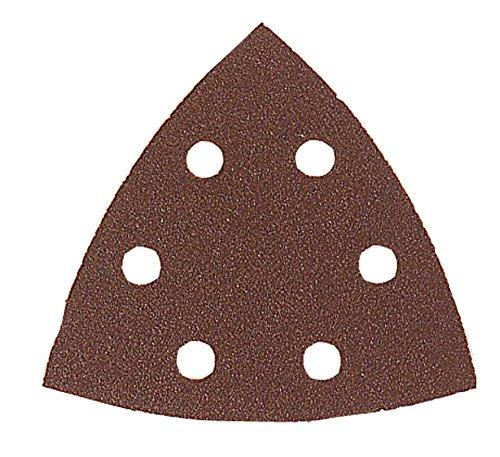 Leman 094094.06.01 Lot de 6 Patins abrasifs triangulaires velcro en Corindon 6 trous 94 x 94 mm Grain 40