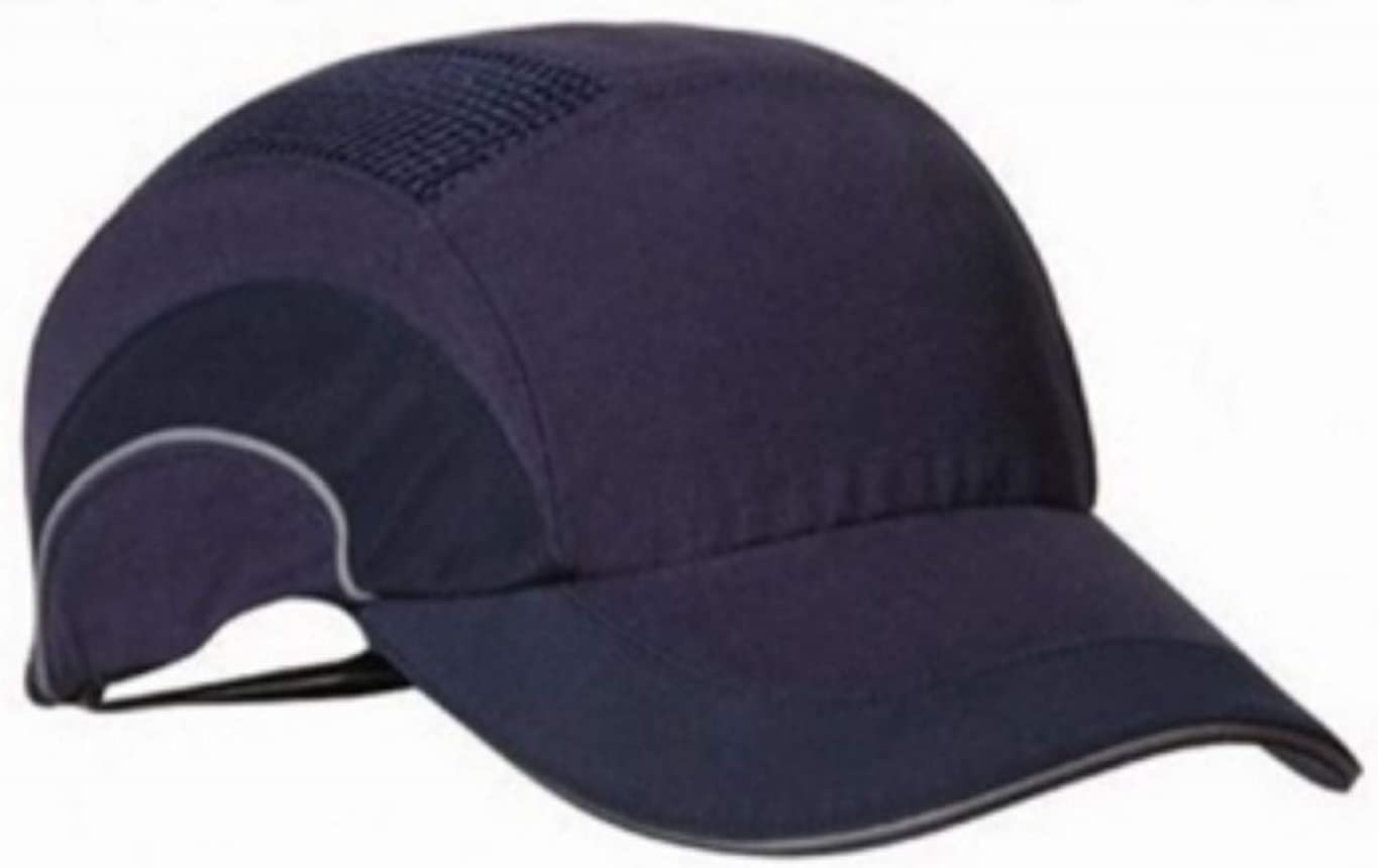 Silent Safety Bump Cap Navy, Regular Reflective Head Protection EN 812 Certified Baseball Style Vented Hard Hat