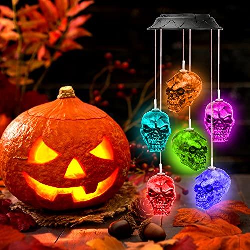 icyant Carillón de viento de esqueleto solar, 6 luces LED de esqueleto, calaveras realistas, decoraciones para interiores y exteriores, fiestas, patio, Navidad, Halloween, jardín, tienda