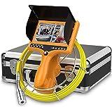 HBUDS Cámara de Drenaje, Cámara de Inspección de Tuberías, Sistema de Video de Serpiente de Endoscopio Industrial con Grabadora DVR Contador de Distancia Monitor LCD Impermeable IP68 1000TVL