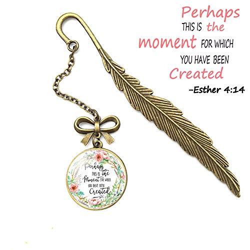 Metall-Lesezeichen mit Bibelvers und Feder, tolles Geschenk für Freunde und Familie 6 Esther 4:14