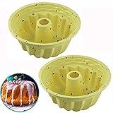 2Pcs Stampo per Torta Gugelhupf in Silicone 24 cm - Stampo in Silicone per Torte, Tubetto Scanalato Antiaderente Anello Tondo Teglia per Torta per ciambelle, Beige