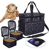 Zwini Sac de voyage pour chien lavable avec compartiments, mangeoire et abreuvoir pliables