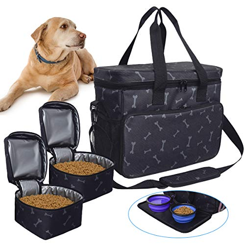 Zwini Dog Travel Bag Washable Storage Supply Tote Thermal Bag with Compartments, Foldable Feeder and Drinker