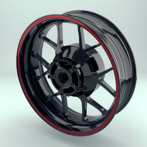 OneWheel Felgenstreifen 4mm für Motorrad & Auto (15-19 Zoll) - Farbe wählbar - Rim Stripes Set für Vorder- & Hinterreifen (Rot - matt)
