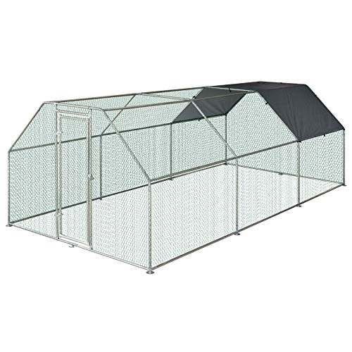 PawHut 18.5' Chicken Coop Galvanized Metal Hen House Large Rabbit Hutch Poultry Cage Pen Backyard with Cover, Walk-in Pen Run