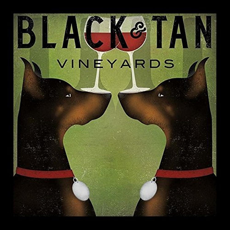 Buyartforless Framed Black and Tan Vineyards - Double Doberman Pinschers Wine by Ryan Fowler 12x12 Signs Art Print Poster Vintage
