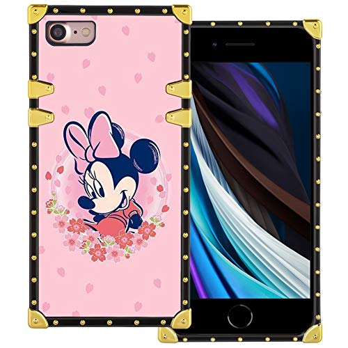 DISNEY COLLECTION iPhone SE 2020 Case, iPhone 7 Case, iPhone 8 Case Square Minnie Mouse Luxury Cute Design Metal Decoration Full Protection Soft TPU Shockproof Back Cover 4.7 Inch