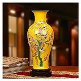Jarrones Amarillo cerámica excelente Porcelana jingdezhen cerámica vegetación adiciones Artificiales Flores Capital Cristal glaseado 37x17cm Florero