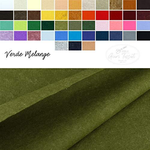 Generico Pannolenci Tinta Unita e Colori mélange al Mezzo Metro - Panno in Feltro colorato per creazioni in Tessuto - Fai da Te - Altezza 190 cm - 47 Colori (Verde Melange)