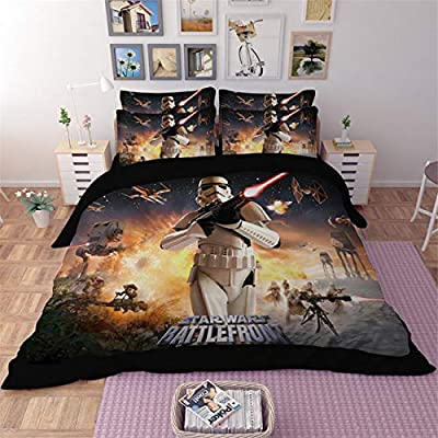 AMTAN 3D Star Wars Duvet Cover Set 2018 Action Science Fiction Adventure Movie Bedding 100% Polyester Fiber Kids Bed Set 3PC 1Duvet Cover 2Pillow Case King Queen/Full Twin Size