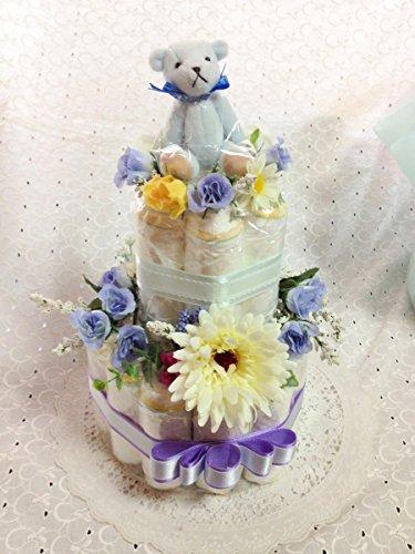 おむつケーキ 2段 センスが良い出産祝い 結婚祝 男の子 ブルー (はじめての肌へのいちばんMサイズ)