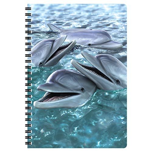 3D LiveLife Libreta A5 - Sonrisa de delfín de Deluxebase. 80 páginas de bloc de notas lenticular 3D de delfines e ilustraciones con licencia del reconocido artista David Penfound