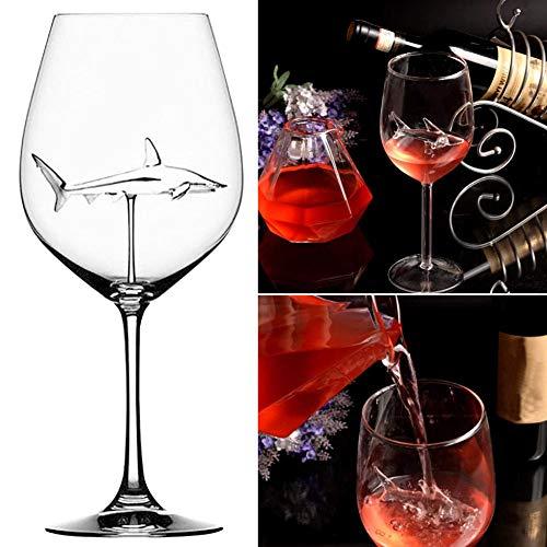 ZFLL rode wijnglas rode wijnglazen met haai binnen beker glas lood-vrij helder glas voor Home Bar Party 6pcs