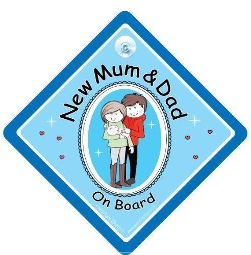 NEW Mum & Dad Sur Board, New Inscription Mum and Dad signe, bleu, bébéà bord, nouveauté signe de voiture, bébéà bord, maternité, grossesse Paternité, Sticker, pare-chocs, en