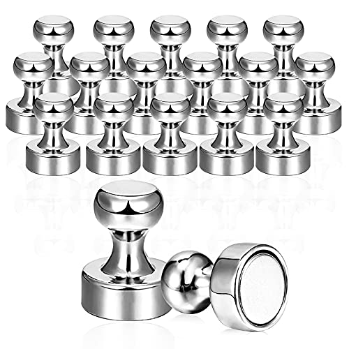 Abaokai 18pcs Metal Magnetic Push Pins Magnetic Thumb Tacks, Practical Fridge Magnets, Perfect for Whiteboard, Magnet Board, Heavy Duty, Strong, Kitchen, Office, Magnetic Map