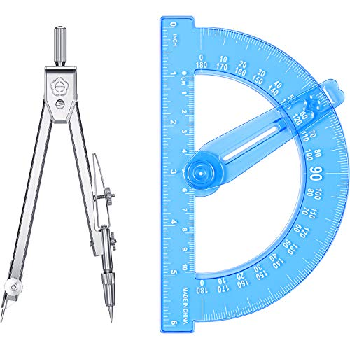Student Geometry Math Set, Drawing Compass and 6 Inch Blue Swing Arm Protractors 180 Degree Math Protractor (Style 2)