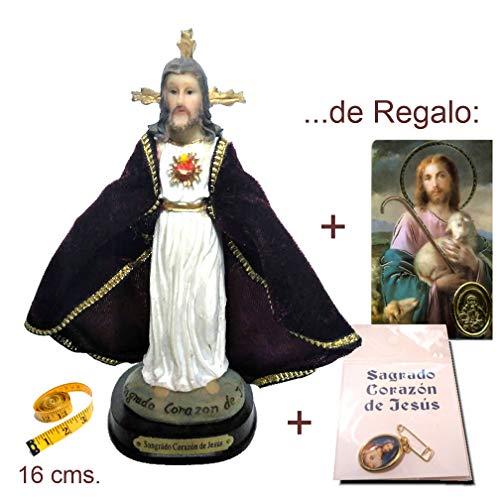 Heraldys.- Figura Sagrado Corazón de Jesús 16 cms. en Resina, Pintada a Mano, con Capa Tipo Terciopelo. De Regalo Medalla y Estampa.