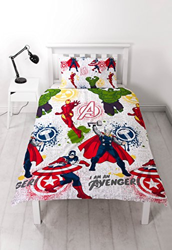 DISNEY MARVEL AVENGERS Marvel Avengers 'Mission' Single Duvet Set-Repeat Print Design, Microfibre, Multicolour